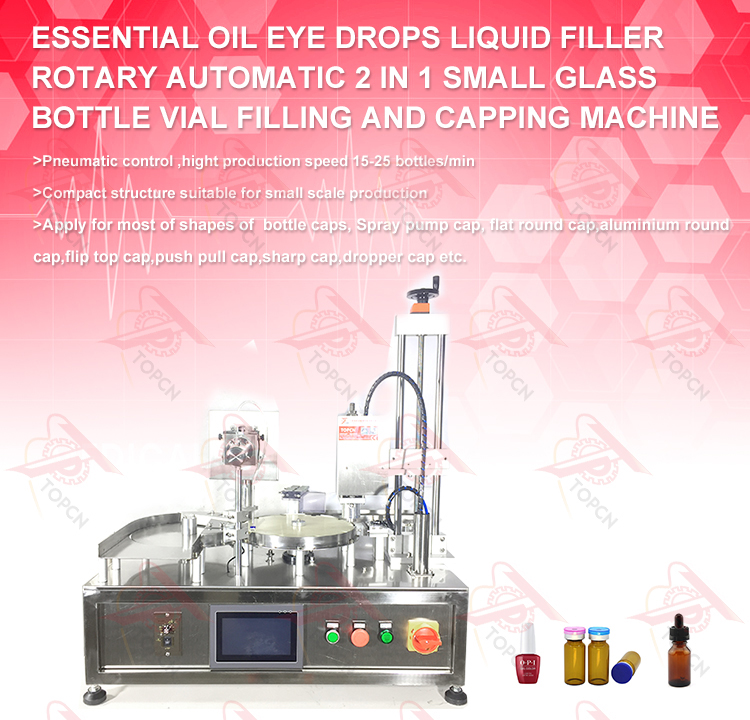 Desktop Cosmetic Essential Oil Eye Drops Liquid Filler Rotary Automatic 2 In 1 Small Glass Bottle Vial Filling Capping Machine