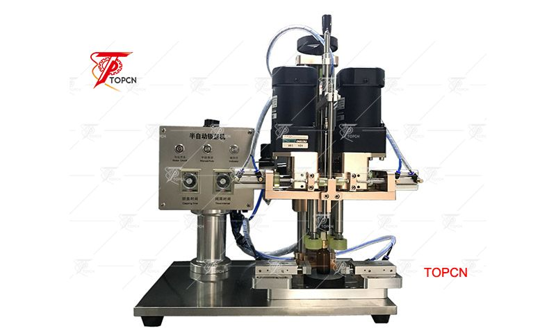 Semi automatic plastic bottle cap twist off sealing capping machine