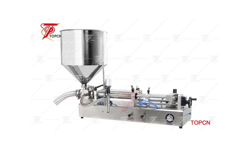 Small pneumatic semi automatic cream paste filling machine with hopper