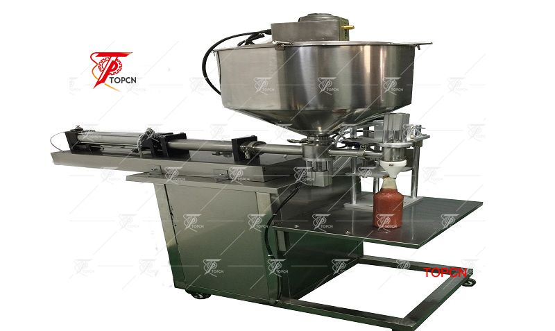 Beer glass bottle semi automatic tomato sauce filling machine with capping machine
