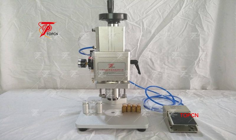 Italy Customer ordered  semi automatic vial capping crimping machine and single nozzles peristaltic filling