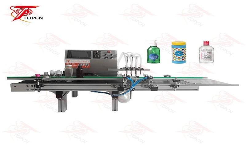PLC Control desktop 4 filling nozzles fluid peristaltic pump filling machine