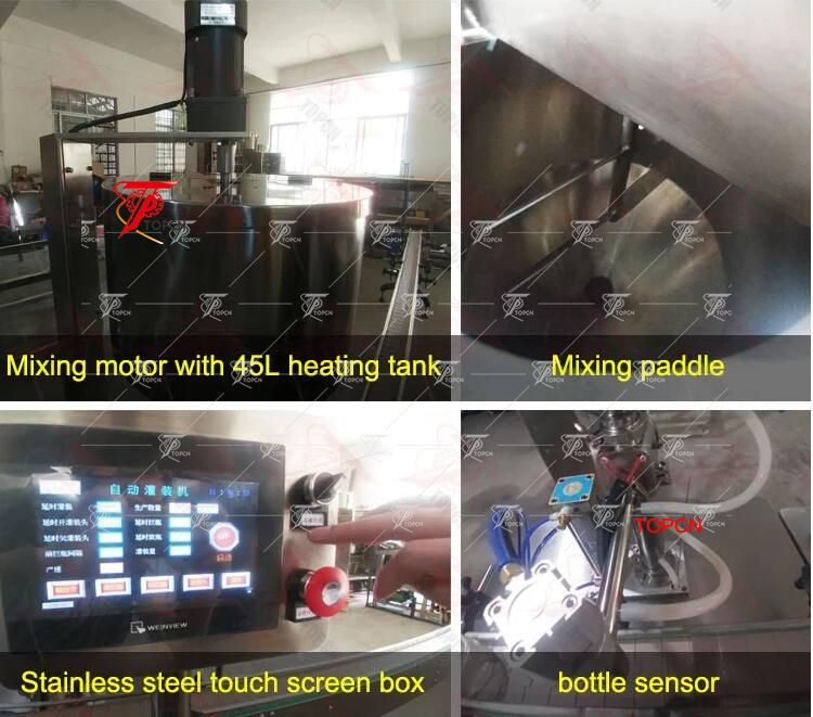Automatic thai herbal balm cosmetic cream hot wax grease filling machine with mixing