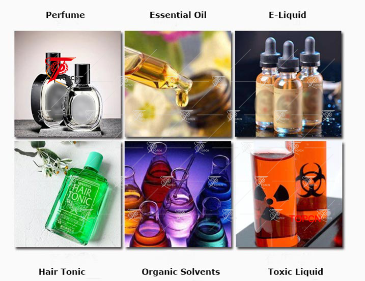 Essential oil E liquid perfume bottles feeding turntable filling plugging capping line 精油灌装旋盖试机