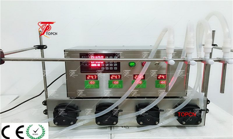 USA Customer ordered 4 nozzles 4L volume peristaltic pump bottle liquid filling machine